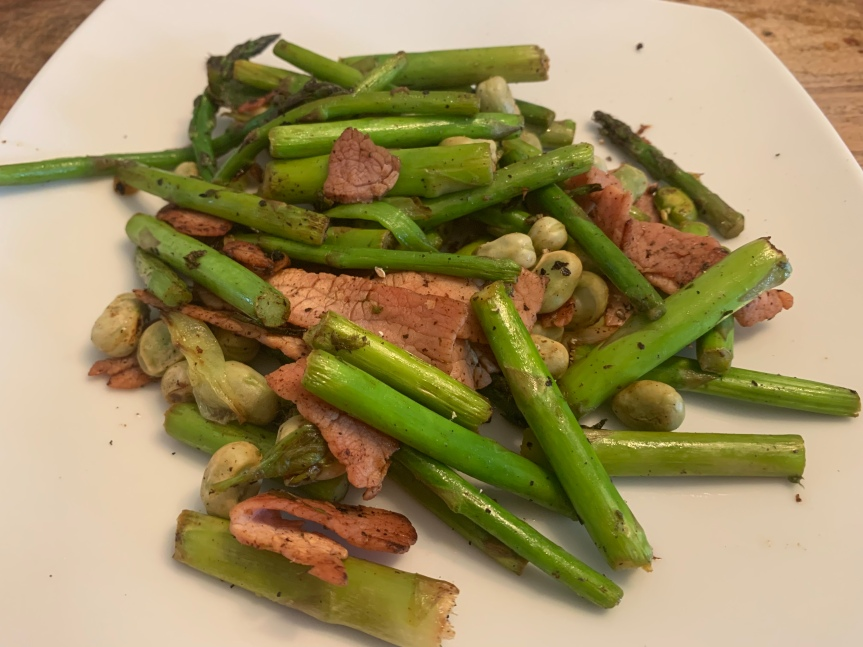Asparagus, bacon and broad beans