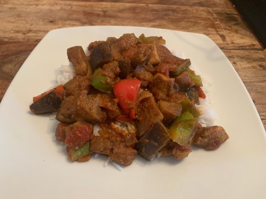 Pork and aubergine curry