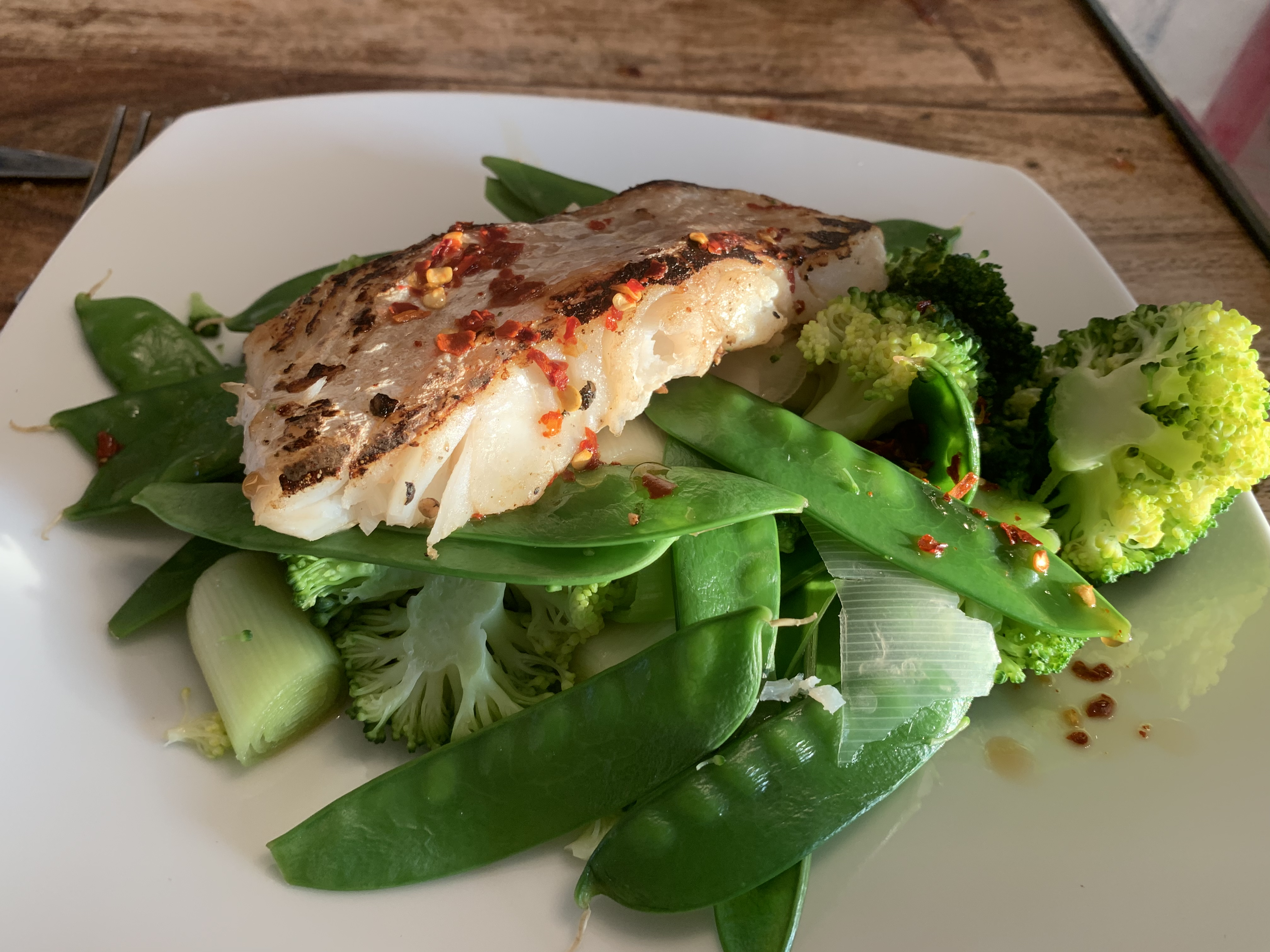 Pan fried cod and asian dressing